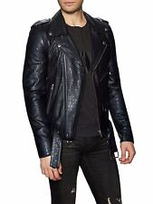 NWT BLK DNM Crocodile Skin Effect Mens LEATHER Jacket LARGE L Diesel