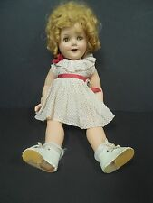 1930s Ideal Shirley Temple Composition Make up Doll w/ Curly Top Dress 18""