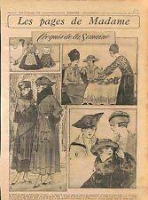 Jouets Poupée étoffe Blouse Satin Robe de Broché Mode Fashion Croquis  WWI 1916
