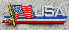 USA FLAG LETTER PATCH Cloth Badge Biker Jacket Iron Sew United States of America