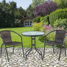 Rattan Patio Bistro Set 2 Seater Chairs and Table Balcony Garden Weatherproof
