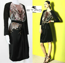 $6260 NEW ETRO BEADED & EMBROIDERED BELTED PRINT BLACK DRESS 44 - 8