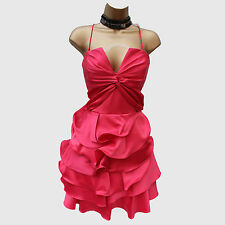 KAREN MILLEN DK247 Pink Ruffle Prom Party Silk Bandeau 50's Cocktail Dress 10 UK
