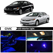 8x Blue Interior LED Lights Package Kit 2006-2012 Honda Civic Sedan Coupe
