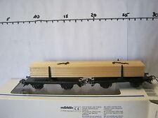 Märklin HO 4665 Drehschemelwagen Gespann + Holzbalken DB (RG/RK/037-13R4/2)