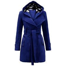 S - 3XL Ladies Women Winter Long Trench Coat Wool Warm Hooded Parka Jacket Black