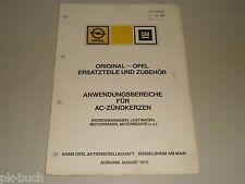 Opel AC Zündkerzen Anwendungsbereiche Liste Verwendungsliste Zuordnung, 1975