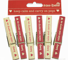 Wooden Keep Calm and Carry On Pegs - 6pk, perfect gift! Perfect home gift
