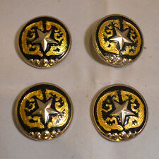 "1.25"" Black Concho -Silver Star & Gold Design - Chicago Screw  - Set of 4 (C17)"