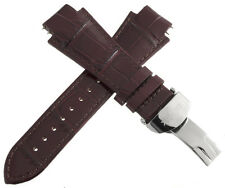 IceLink Mens 17mm Brown Leather Watch Band Strap W/ Stainless Steel Buckle