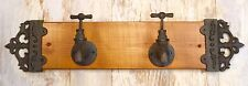 Cast Iron & Wood 2-Faucet Spigots Wall-Mount Vintage Coat/Towel Rack Holder