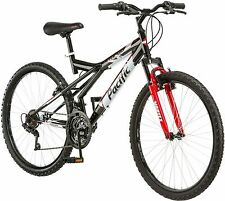 26 Inch Mountain Bike Mens Black and Red 18 Gears Bicycle