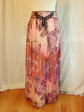 ABS ALLEN SCHWARTZ BUTTERFLY PRINT PINK MAXI SKIRT SPARKLY BEADED 8 HOLIDAY