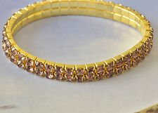 2 Row Around 9K Yellow Gold Filled Pink Cubic Zirconia Womens Bracelet F5981