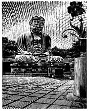 The Great Buddha, Kamakura Japan Limited Edition Woodcut Woodblock Print Signed