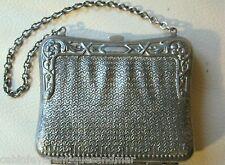 Antique Victorian Art Nouveau Silver T Metal Faux Mesh Motif Card Case Purse #2