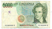 Italien 5000 Lire 1985 World Paper Money 111a kl. Fleck gebr.