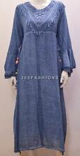 PLUS SIZE BOHO HIPPIE CROCHET LACE TRIM BELL SLEEVE TUNIC DRESS BLUE 14 16 18 20