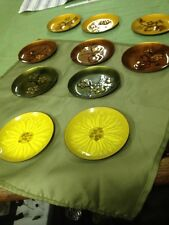 Retro Mid Century Hand Painted Enamel on Copper Dish Signed Bovano Brown Daisies