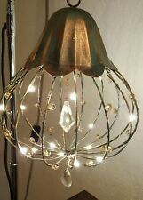 """Metal Copper  Decor 9"""" Tall Whimsical Fairy Garden Cage with Fairy Lights"""