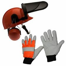 Chainsaw Safety Protection Helmet & Chainsaw Gloves Large