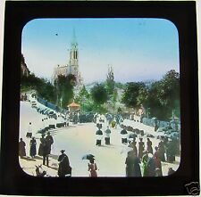 COLOUR Glass Magic lantern slide LOURDES STREET SCENE C1900 FRANCE