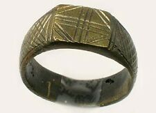 Ancient Roman Byzantine Ring Intricately Engraved Christian Cross AD1100 Size 9