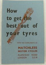 HOW TO GET THE BEST OUT OF YOUR TYRES BOOKLET FOR MATCHLESS MOTOR CYCLES