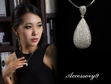 Bling Micro pave Cubic Zircon teardrop pendant 925 sterling silver necklace A14