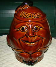 Vintage Humpty Dumpty Brown Pottery Biscuit /Cookie Jar  Made in England  VGC