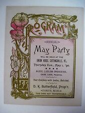 "1890 Dance Card for ""Annual May Party"" Held At Union House,Cuttingsville,VT (N)*"