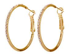 """Swarovski Elements Crystal 1 3/8"""" Fantastic Hoop Pierced Earrings Gold New 7220y"""