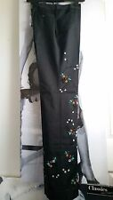 "WOMEN BLACK TROUSERS/PANTS STRAIGHT ""RICCI ANDRIST""SEQUINS&BEADS EMBROIDERY 42"