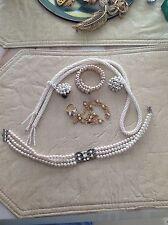 Vintage Faux Pearl Necklace Bracelet Earrings lot 182