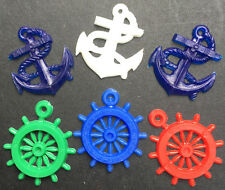 6 Nautical Charms - Anchors and Ships wheel
