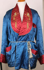 RARE Vintage Japanese Kimono Quilted Bed Jacket Silk Embroidered Dragon 50s 60s