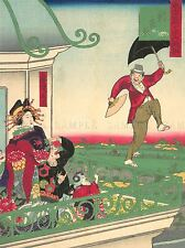 CULTURAL HISTORY WEST CLOTHES JAPAN UMBRELLA IKKEI POSTER ART PRINT BB666A