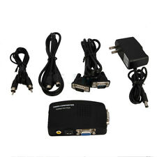TV RCA Composite S-Video AV In To PC VGA LCD Out Converter Adapter Box US BY