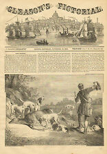 Dogs, Deer Hunting, Shooting, Deer Hounds, Vintage, 1853 Antique, Art, Print,