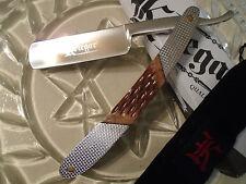 """Kriegar Fancy Burnt Bone & Steel Staight Razor Pocket Knife KG104 6 1/2"""" Closed"""