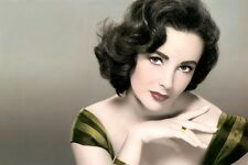 ELIZABETH TAYLOR LOT OF TEN (10) HOLLYWOOD ACTRESS 8X10 HAND COLOR TINTED PHOTOS