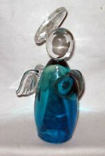 "7"" Art Glass Angel With Hollow Blue Body Clear Head Halo And Wings"