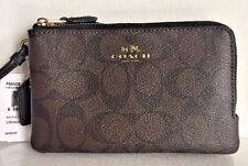 NWT COACH 66506 Double Corner Zip Wristlet Signature Coated Canvas Brown / Black