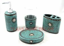 Western Turquoise Bathroom Accessory Set 4 Pieces Floral Leather Look Rhinestone