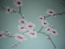 Delicate eggshell blue pink apple blossom shabby chic wallpaper roll