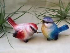 2 SMALL MINI SONG BIRDS BLUE  PURPLE RED YELLOW BIRD COUPLE Fairy Garden Resin