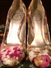 Womens High Heel SEXY Shoes Size 8.5 B Floral Abstract Art Pink By Jessica 38.5