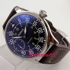 44mm Parnis black dial luminous dual time zone 6497 hand-winding men's watch 647