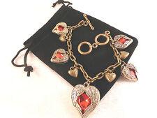 Ladies Vintage Style Red Rhinestone Multiple Hearts with Wings Bracelet