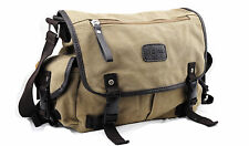 Casual Messenger Canvas Bag Multi Pockets Shoulder Carry Wide Strap